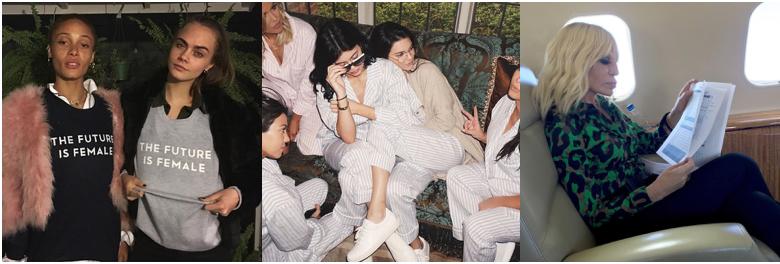 Cara Delevingne (@caradelevingne), Kendal Jenner (@kendalljenner), Donatella Versace (@donatella_versace)