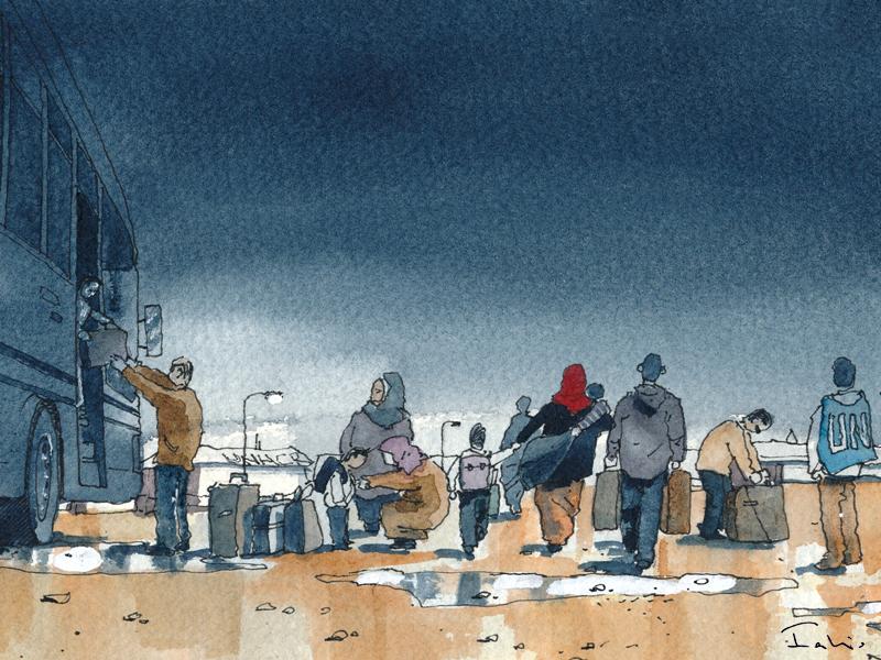 Inside Za'atari_ Illustrazione di Fabio Barilari