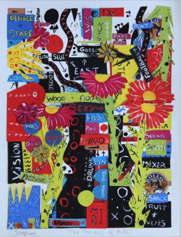 Sam Gimbel-the-politics-of-pub-gouache-collage-su-carta-300gr-78x53
